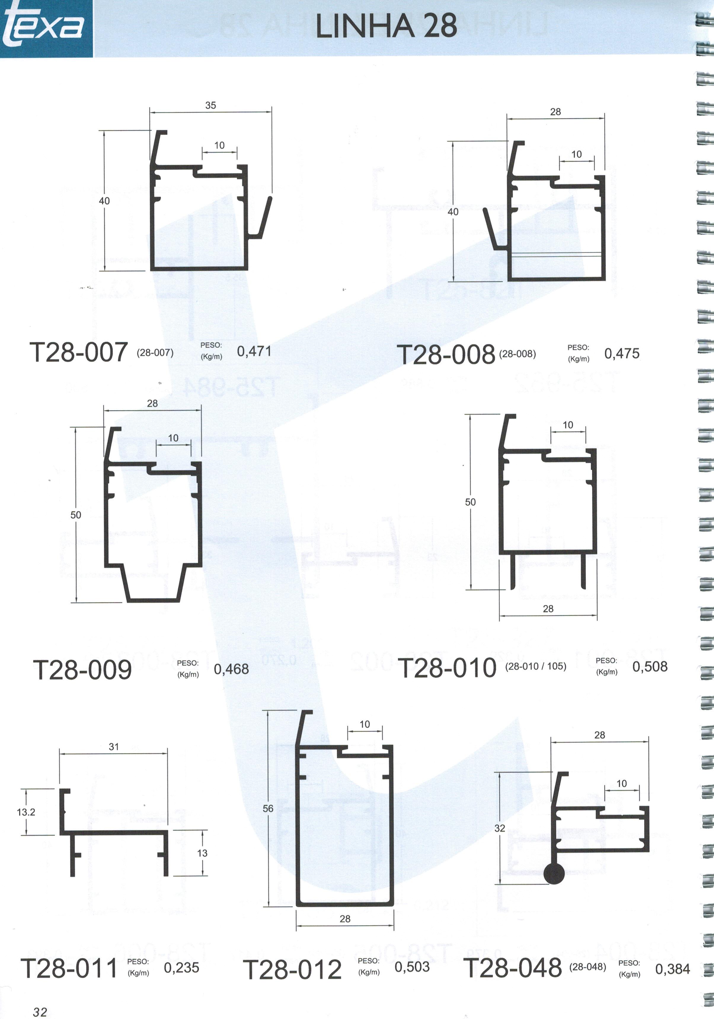 #2C6A89 Perfil 28 1656 Janela De Aluminio Linha 28
