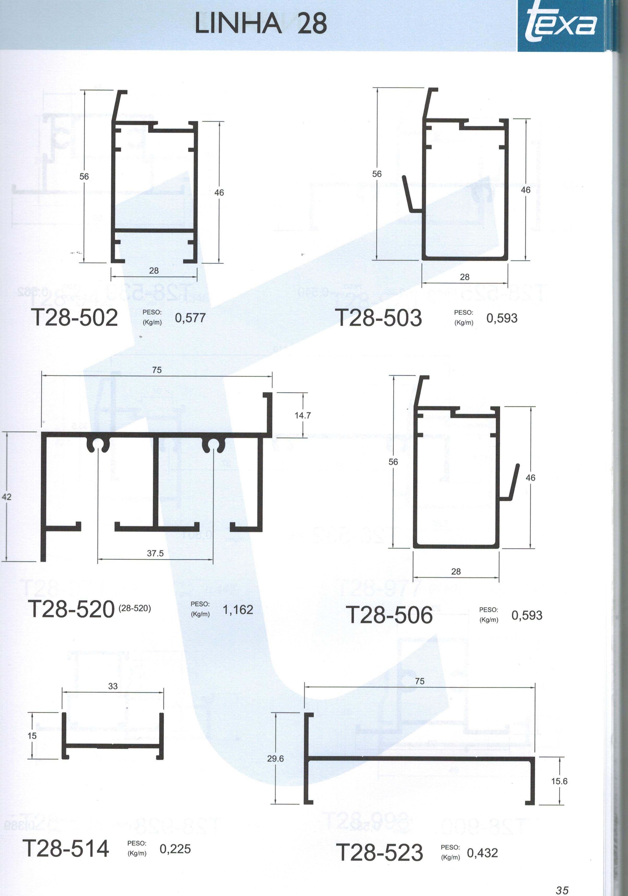 #2F6D8C Perfil 28 1656 Janela De Aluminio Linha 28